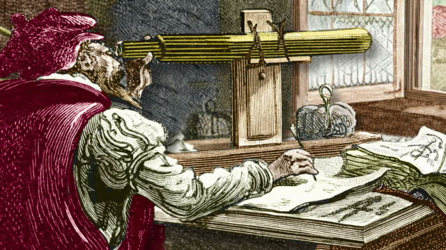 stockvideo's en b-roll-footage met galileo using a telescope, historical artwork. - galileo galilei