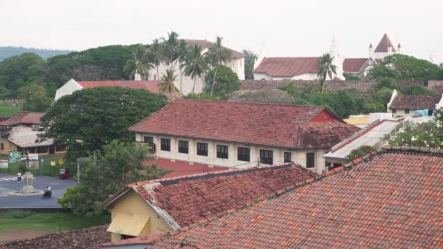 galle fort colonial rooftop tiles. sri lanka establishing shot - sri lankan culture stock videos & royalty-free footage