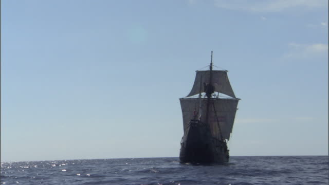 a galleon sailing ship travels over the ocean. - sailing ship stock videos & royalty-free footage