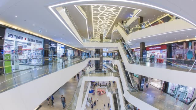 galleria shopping mall, modern shopping mall in minsk, belarus - time lapse - belarus stock videos & royalty-free footage