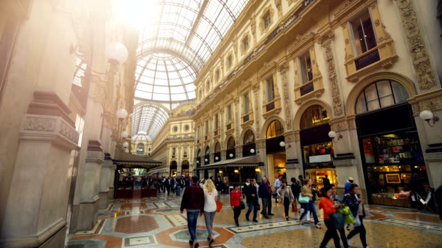 galleria vittorio emanuele ii, famous shopping place in milan. - window display stock videos & royalty-free footage
