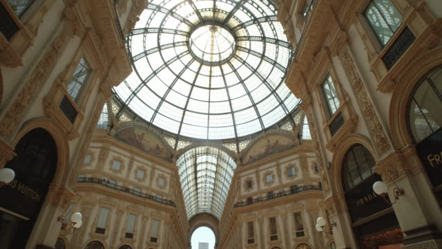 galleria vittorio emanuele ii gallery entrance filmed with steadicam dolly shot - directly below stock videos & royalty-free footage