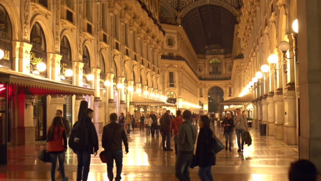 galleria vittorio emanuele ii in milan, famous shopping place in milan. - window display stock videos & royalty-free footage