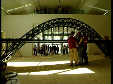 new baltic gallery to open in gateshead replica of the tyne bridge created by american artist chris burden - tyne bridge stock videos & royalty-free footage