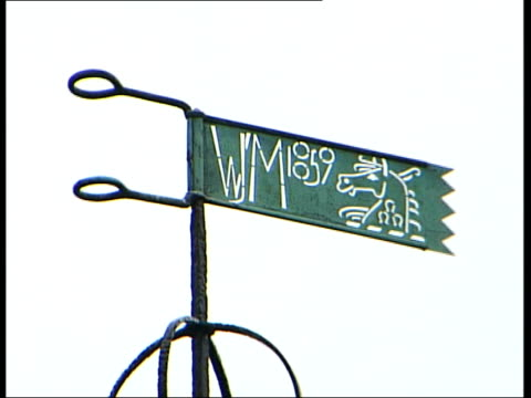 galleries and museums: william morris house bought by national trust; weather vane inscribed 'wm 1859' - national trust video stock e b–roll