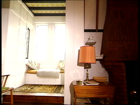 galleries and museums: william morris house bought by national trust; general views rooms inside house featuring large windows and light keyhole pull... - national trust stock-videos und b-roll-filmmaterial