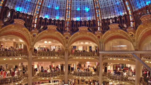 galleries lafayette. shopping mall - luxury stock videos & royalty-free footage