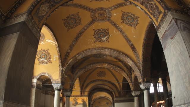 t/l cu zo ws la gallery ceiling, hagia sophia, istanbul, turkey - hagia sophia istanbul stock videos & royalty-free footage