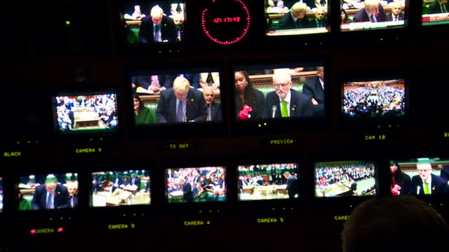 tv gallery filming and recording the last prime minister's questions in house of commons before the december 12th general election - prime minister's questions stock videos & royalty-free footage