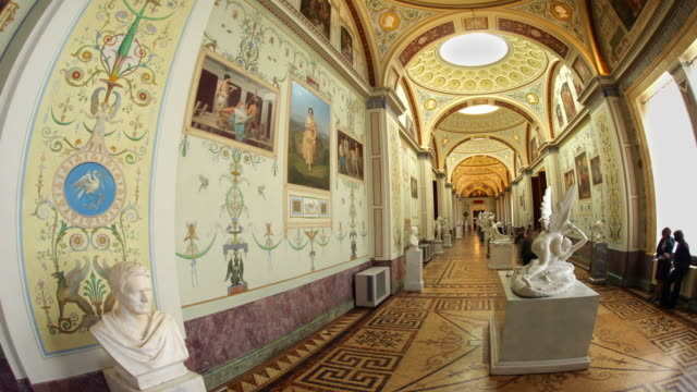 gallery of painting around statue fisheye hl 1 - art gallery stock videos & royalty-free footage