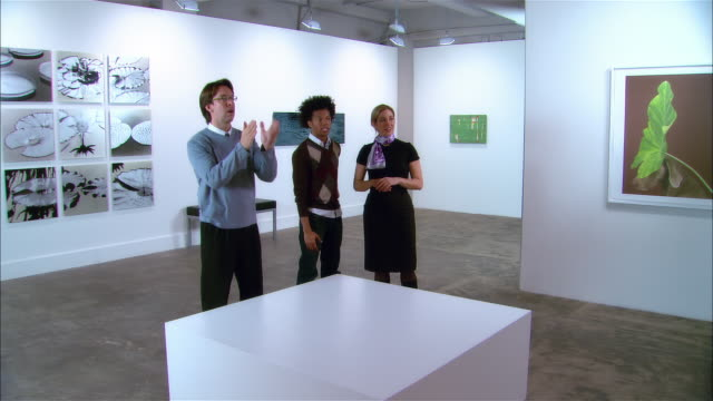 gallery owner, artist, and curator planning exhibition of contemporary art - curator stock videos & royalty-free footage