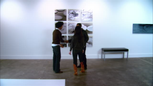gallery worker looking at panels of lily pads on wall / greeting couple entering gallery and discussing artwork with them - museum stock-videos und b-roll-filmmaterial