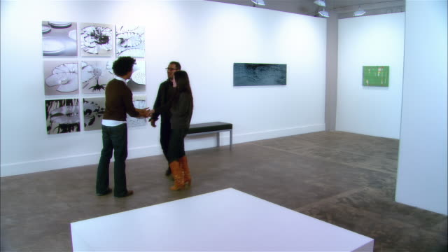 gallery worker shaking hands with couple / couple walking off to look at artwork - einzelne frau mit männergruppe stock-videos und b-roll-filmmaterial