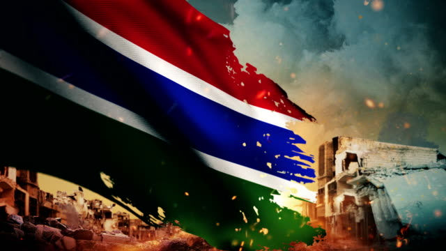 4K Gambia Flag - Crisis / War / Fire (Loop)