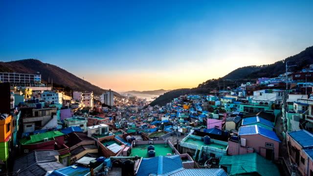 gamcheon culture village at day to night - 昼から夜点の映像素材/bロール