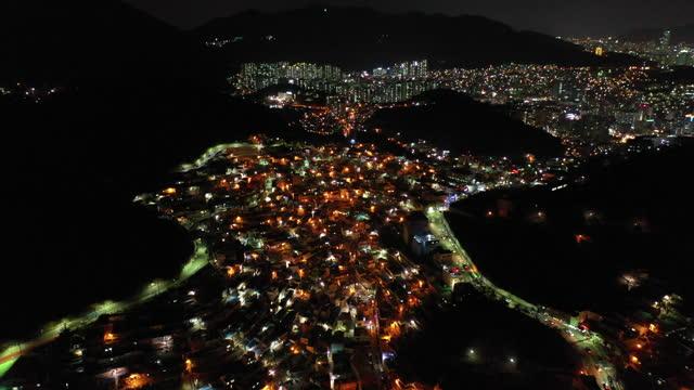 gamcheon culture village at night / saha-gu, busan, south korea - wide stock videos & royalty-free footage
