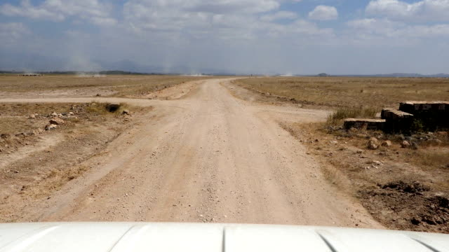 game drive at amboseli national park on the dirt road - kenya stock videos & royalty-free footage