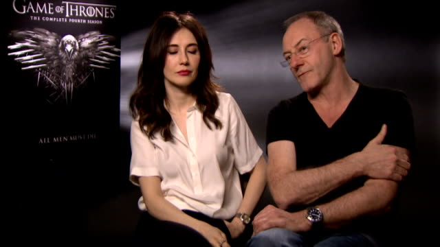 carice van houten and liam cunningham interviews england london int carice van houten and liam cunningham interview sot - liam cunningham stock videos & royalty-free footage