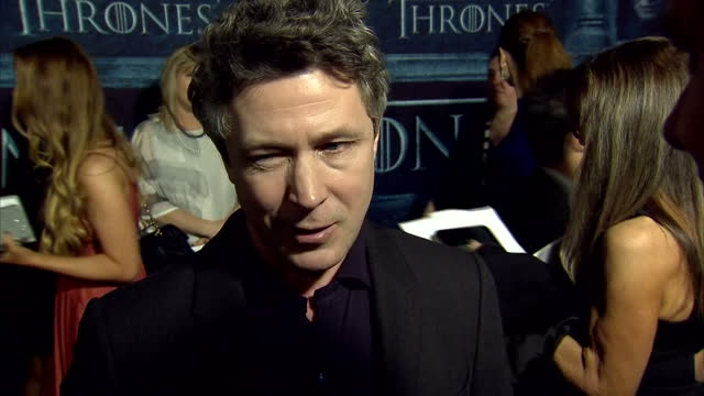 'game of thrones' season 6 world premiere takes place in hollywood california interview with actor aidan gillen who portrays petyr baelish - aidan gillen stock videos & royalty-free footage