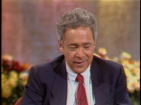 "game show host and television producer chuck barris discusses the his new book ""confessions of a dangerous mind"" in a television interview. - gioco televisivo video stock e b–roll"
