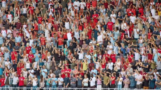 ld game spectators at the stadium standing up and cheering - スタンド席点の映像素材/bロール