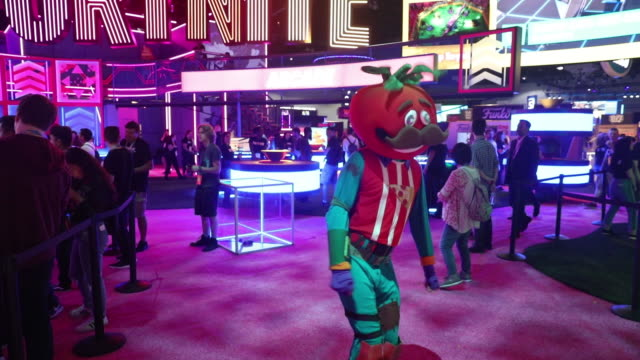 gamers at presentation of fortnite video game during e3 electronic entertainment expo los angeles california us on wednesday june 12 2019 - gamepad stock videos & royalty-free footage