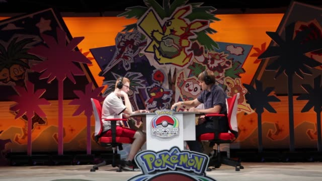 Gamers play the Pokemon Trading Card Game at the Anaheim Convention Center for the Pokemon Go World Championships in Anaheim CA on August 18 2017...