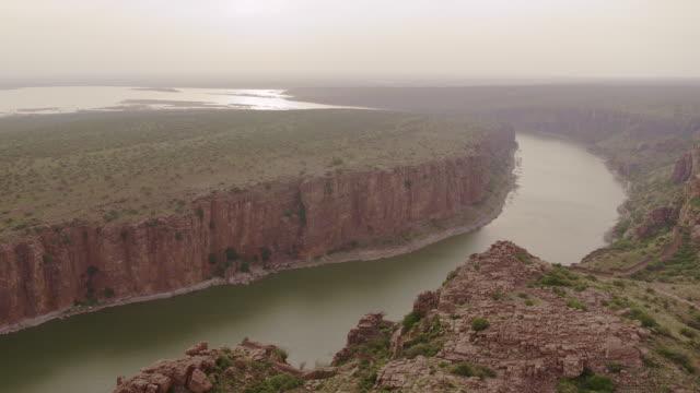 gandikota near kurnool sandstone canyon and river 4k - hill stock videos & royalty-free footage