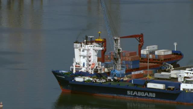stockvideo's en b-roll-footage met gantry cranes line the kingston container terminal in kingston, jamaica. - jamaica