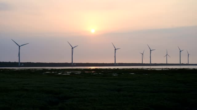 gaomei wetlands landscape during sunset, taichung, taiwan - rauchartig stock-videos und b-roll-filmmaterial