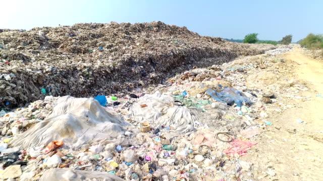 Lixo no depósito de resíduos em aterros, a poluição aquecimento Global