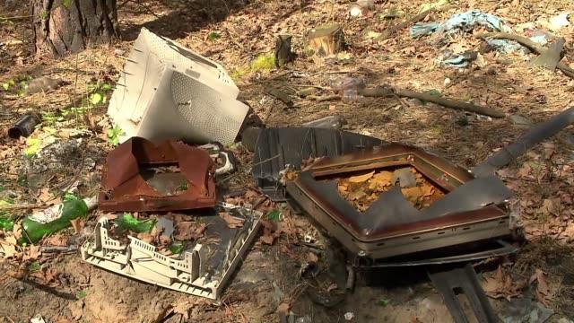 vídeos y material grabado en eventos de stock de garbage in forest - árbol de hoja caduca