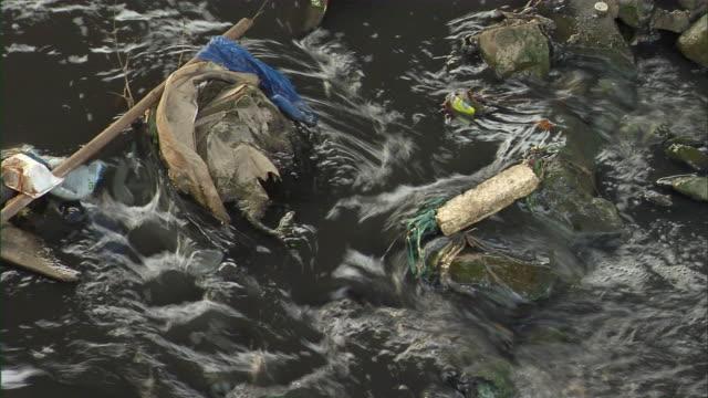 vídeos de stock e filmes b-roll de cu ha garbage in rocky stream / chongqing, sichuan province, china - poluição de água