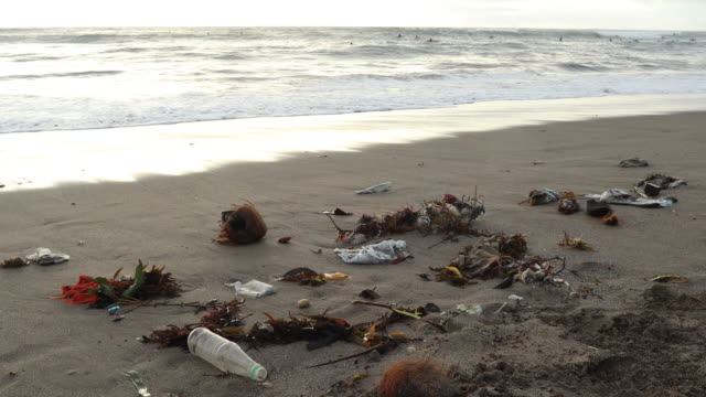 garbage litters beach near surfs edge - indonesia beach stock videos & royalty-free footage