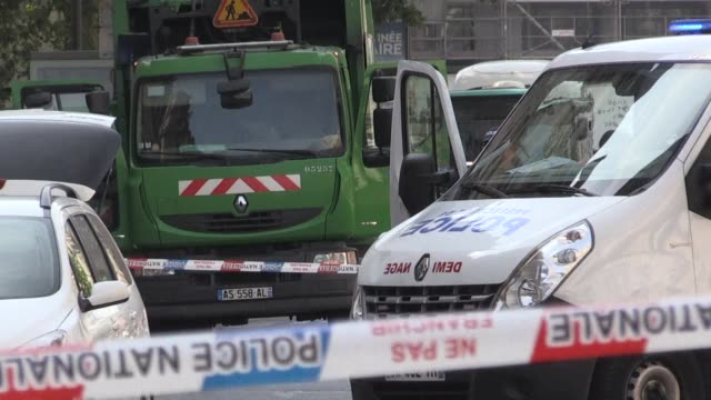 a garbage truck parked near paris's place de l'opera triggers a security scare prompting police to shut down nearby streets as bomb squad officers... - place de l'opera stock videos and b-roll footage