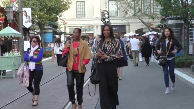 garcelle beauvais at the grove at farmers market in los angeles at celebrity sightings in los angeles on december 09, 2016 in los angeles, california. - the grove los angeles stock videos & royalty-free footage