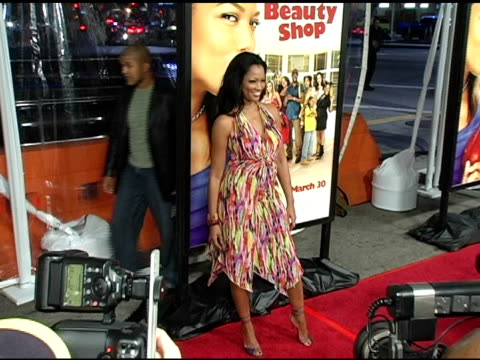 garcelle beauvais-nilon at the 'beauty shop' world premiere at the mann national theatre in westwood, california on march 24, 2005. - mann national theater video stock e b–roll