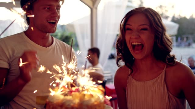garden birthday party - compleanno video stock e b–roll