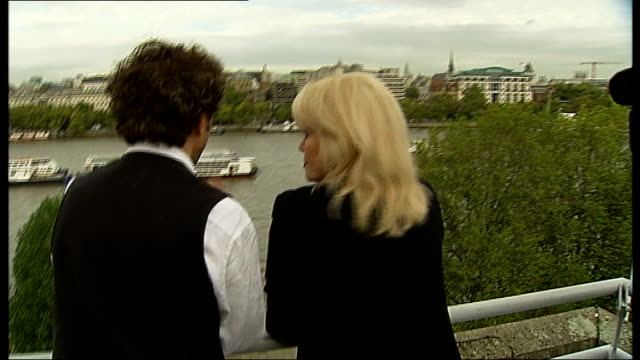 interviews and speeches joanna lumley photocall / lumley and heatherwick photocall / lumley heatherwick and davies photocall / group chatting - joanna lumley stock videos & royalty-free footage