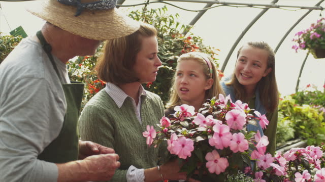 stockvideo's en b-roll-footage met ms garden center employee talking to women and her two daughters (11-12) holding potted flowers, manchester, vermont, usa - familie met drie kinderen
