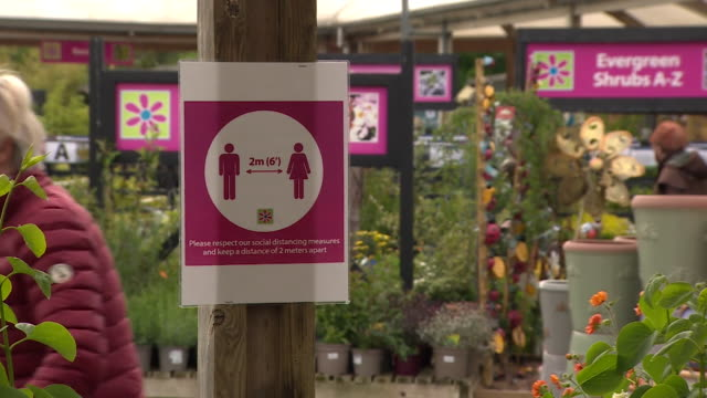 garden centre in worcester reopens as some coronavirus lockdown restrictions are lifted social distancing signs in place - gardening stock videos & royalty-free footage