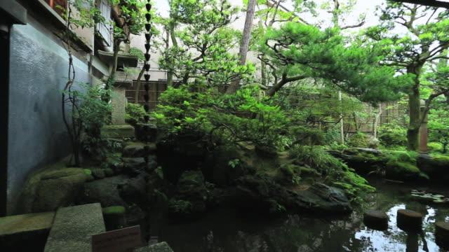 ms pan garden of wooden old house for samurai,buke yashiki / kanazawa, ishikawa, japan - kanazawa stock videos and b-roll footage