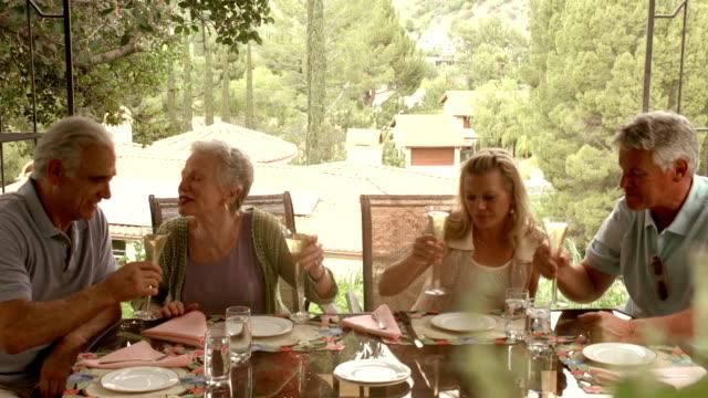 stockvideo's en b-roll-footage met slow motion - garden party mature couples. - huisbezoek