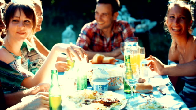 garden party. - dining table stock videos & royalty-free footage