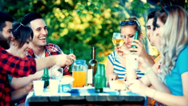 garden party. - patio stock videos & royalty-free footage