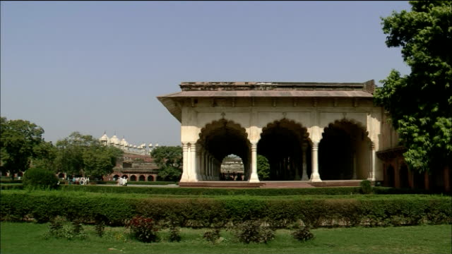 A garden surrounds the Hall of Public Audience in Agra Fort in India.