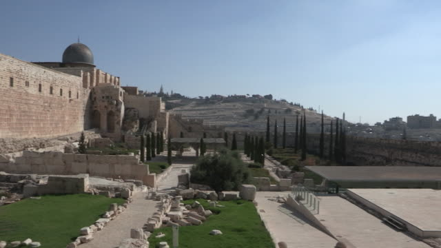 garden, wall, and mosque, jerusalem, israel - al aqsa mosque stock videos and b-roll footage
