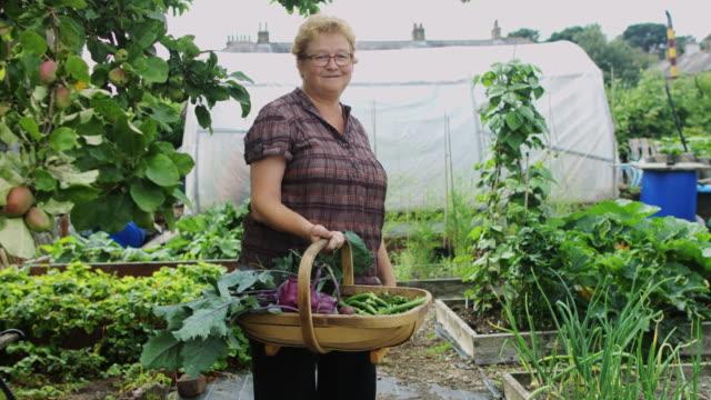 農産物のバスケットとポーズの庭師 - アブラナ科点の映像素材/bロール