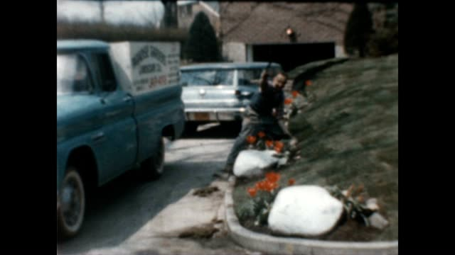 vidéos et rushes de a gardener tends to the flowers in a lovely suburban garden in the early 1960's while children run around and wave to the camera - queens