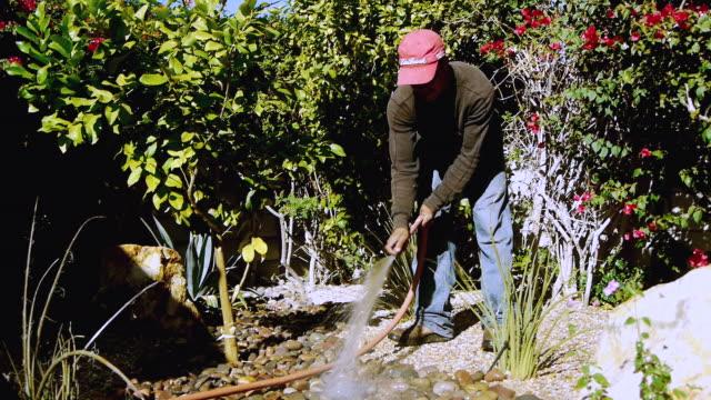 ws gardener watering desert landscaped backyard / rancho mirage, california,  usa - rancho mirage stock videos & royalty-free footage